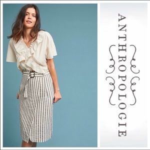ANTHROPOLOGY BELTED STRIPED pencil SKIRT